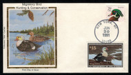 #RW58 VF, First Day Cover, Colorado Silk cachet,  Unaddressed, colorful and RARE!