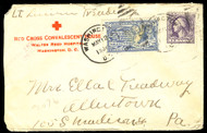 # 529, E11 Red Cross cover, back stamped, nice markings
