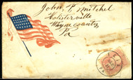 #  64b Patriotic Cover with the rose pink shade,  Lovely Erie, Pa Sept 11, hand cancel, stamp is fine, cover shows wear!