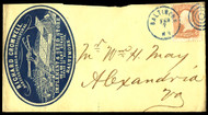 #  65 EARLY ADVERTISING COVER, tied by lovely blue cancel, Richard Cromwell,  Implement & Seed Store, back flap missing,  Nice!