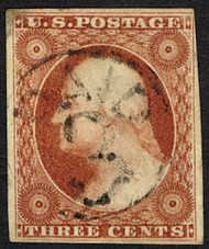 "#  10 VF/XF, strong orange brown color,  Beautiful circled ""PAID 3"" cancel,  tough to find this nice!"