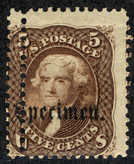 #  76s Fine/Ave OG Hr, EXTRA ROW of PERFS, Specimen Overprint,  Neat Freak!