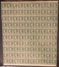 # 538 1c Washington, sheet of 100, RARE IMPERF MARGIN VARIETY,  7 stamps hinged, commonly collected as a full sheet due to its normal 170 format,   VEY NICE!