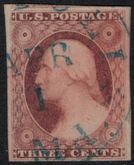 #  11A SUPERB, a very large imperf stamp, blue cancel, Choice!