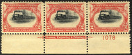 # 295 VF/XF OG H, MAJOR VINGETTE SHIFT,  plate strip of 3,  SUPER SELECT!