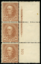 # 282C F/VF OG NH, PLATE STRIP, Super Rare in NH condition!