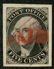 #    9x1 F/VF on piece, painted red cancel, Fresh!