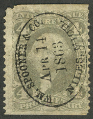 #R 22b F/VF, large imperf margins, lovely handstamp,  Scarce Stamp!