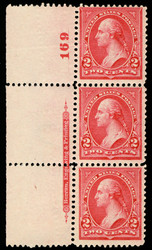 # 266 F/VF OG NH, Plate Strip of 3, super color, Rare Strip!