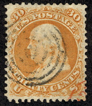 #  71 XF-SUPERB, extremely well centered, faint target cancel,  seldom seen with four margins, SELECT!