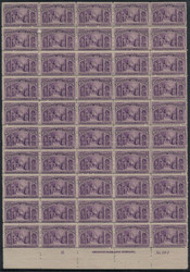 # 235 6c Columbus, sheet of 50, Fine to F/VF OG NH, missing side margin, natural gum wrinkles, minor flaws,  Catalogs at $9000 as singles and the bottom plate block.  A desirable sheet and priced to sell, we are sure there are not many of these arou