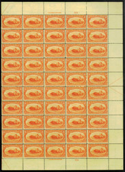 # 287 4c Trans-Mississippi, sheet of 50, VF OG NH, sheet of 50, Six stamps VLH, expertly rejoined perfs,  VERY RARE SHEET