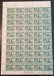 # 323 1c Livingston, Sheet of 50, VF OG NH, extremely well centered,  top of the line sheet, Post Office Fresh,  Catalogs $3480.00  see the entire set that we have