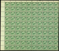 #C  2 16c Jenny, green, sheet of 100,  a remarkable sheet, well centered throughout,  VF+OG NH,  SUPER RARE!