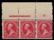 # 249 F/VF OG NH, PLATE STRIP OF 3,  Super nice condiiton, VERY RARE!