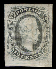 Confed #10 F/VF no gum, as per Scott, not a defect, showing complete line at bottom and 3/4 line at left. faint crease shows in fluid, Very Rare Mint Stamp!