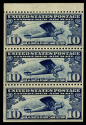 #C 10a VF OG H, booklet pane of 3, VERY NICE!