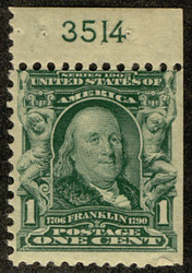 # 300b F/VF OG stamps NH, Booklet Single with plate number, SUPER RARE!