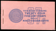 #1036a BK109 97c Book, 85 -95% PLATE NUMBERS 26652//26653 COMPLETE BOOK, RARE THUS!