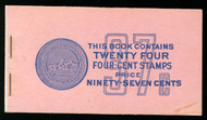 #1036a BK109 97c Book, 80 -90% PLATE NUMBERS 26287//26288 COMPLETE BOOK, RARE THUS!