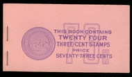 #1035a BK105 73c Book, 80 -85% PLATE NUMBERS 25773//25774 COMPLETE BOOK, RARE THUS!