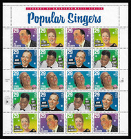 #2854-61 29c Popular Singers Sheet, VF mint never hinged, fresh   STOCK PHOTO