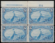 # 288 F/VF OG H, top plate of 4, some minor offset on gum, Rare Plate!