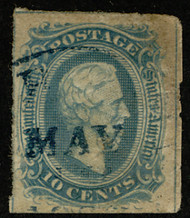 Confed #10 VF/XF appearance, lovely town cancel, 3/4 line at top, full line at right, 1?2 line a left, small flaws, thin,   A excellent looking stamp,  VERY RARE!