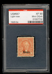 # 667 XF OG NH, w/PSE (GRADED 90, ENCAPSULATED), wonderfully fresh color, wide stamp, SELECT!