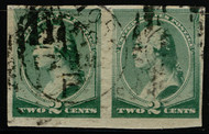 # 213a VF/XF, w/Crowe (10/20) CERT, a fabulous used pair with 1890 New York City duplex,  all known imperf errors have this cancel, Vert Pair sold at Siegel's for $4800,   VERY SCARCE and FAULT FREE TOO!