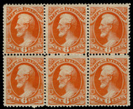 #O 18 VF OG H/NH, Block of 6, w/CROWE (10/20) CERT, two stamps never hinged,   POST OFFICE FRESH!