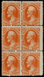 #O 18 VF OG NH/H, Block of 6, w/CROWE (10/20) CERT, two stamps never hinged,   POST OFFICE FRESH!