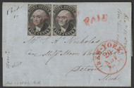 #    9x1 VF+, Pair on Cover,  left stamp double transfer, fresh cover with nice markings, rare as a pair,  Choice!