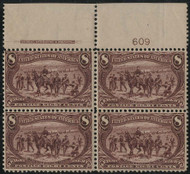 # 289 VF OG VLH, Plate Block of 4, a very rare plate block, Super Color!