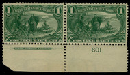 # 285 F/VF OG NH/LH, Plate Pair, plate number single is NH
