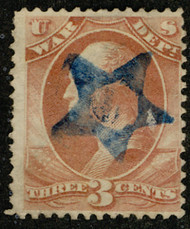 #O 85 Fine+, Bold blue hollowed star, socked on the nose cancel, Perfect Strike!