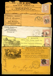 #  65 Advertising Covers, 5 different, see photo, some faults,  VERY NICE GROUP!