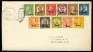 # 658 - 679 VF complete used Set on First Day Covers, all fresh colors on Nickels cover, Catalogs $3000, SUPER SET!