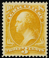#O  3 XF OG NH, w/CROWE (03/21) CERT (from a block), wonderful color, you just do not see Officials in this condition, GEM!
