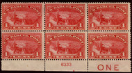 """#Q 1 F/VF OG NH, Plate Block of 6 with """"ONE"""", Nice!"""