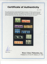 # 756-765 VF/XF OG NH, Horizontal Pairs, full gummed NH set, from a set of sheets that were cut down, VERY RARE!