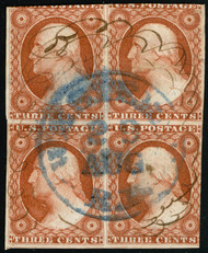 #  10 F/VF, Block, w/CROWE (05/21) CERT, very rare used block, small faults, Scott's lists but does not value a block, if you pro rate a strip of three to a block our guess is around $18000 catalog,  VERY RARE!