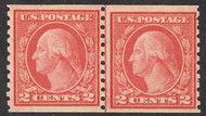 # 454 F/VF OG NH, Line Pair, well centered for this notorious off centered issue, CHOICE!
