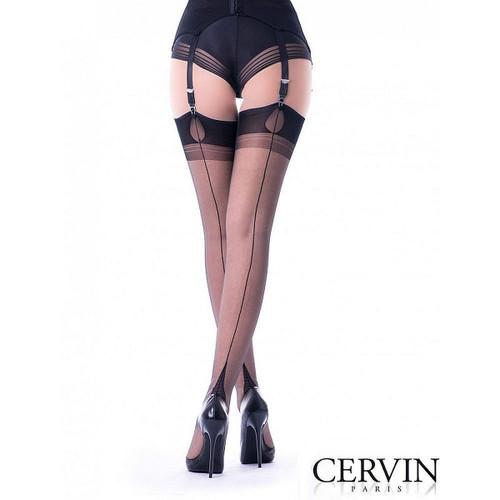Cervin fully fashioned seamed nylon stockings hosiery tentation french heel black