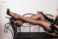 Cervin Havana cuban heel seamed nylon stockings fully fashioned hosiery black