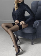 Fiore Glam Matte Finish Hold Up Stockings 20 Denier Stay Up Hosiery Nylons
