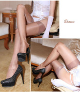 Reinforced Toe 100% Nylon Sheer Shiny Nude Heel Stockings RHT Hosiery Nylons