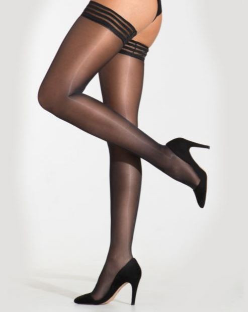 Silky High Shine 15 Denier Luxury Lace Top Hold Ups
