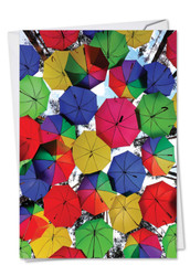 C2331AOC - Flying Umbrellas: Greeting Card