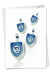 Great Dreidels, Printed Hanukkah Greeting Card - C6008GHK